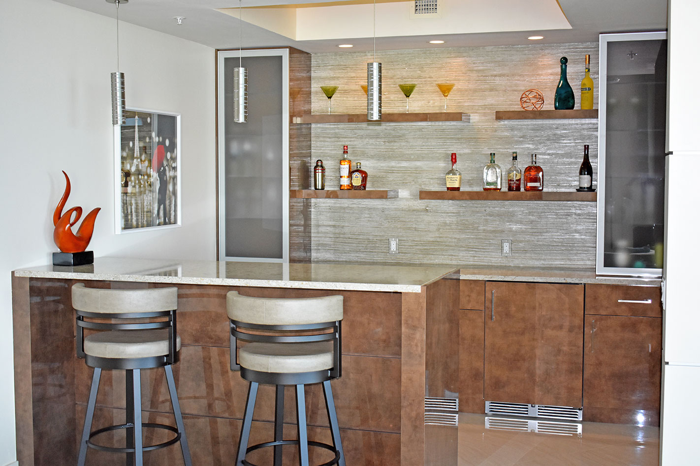 custom built wet bar