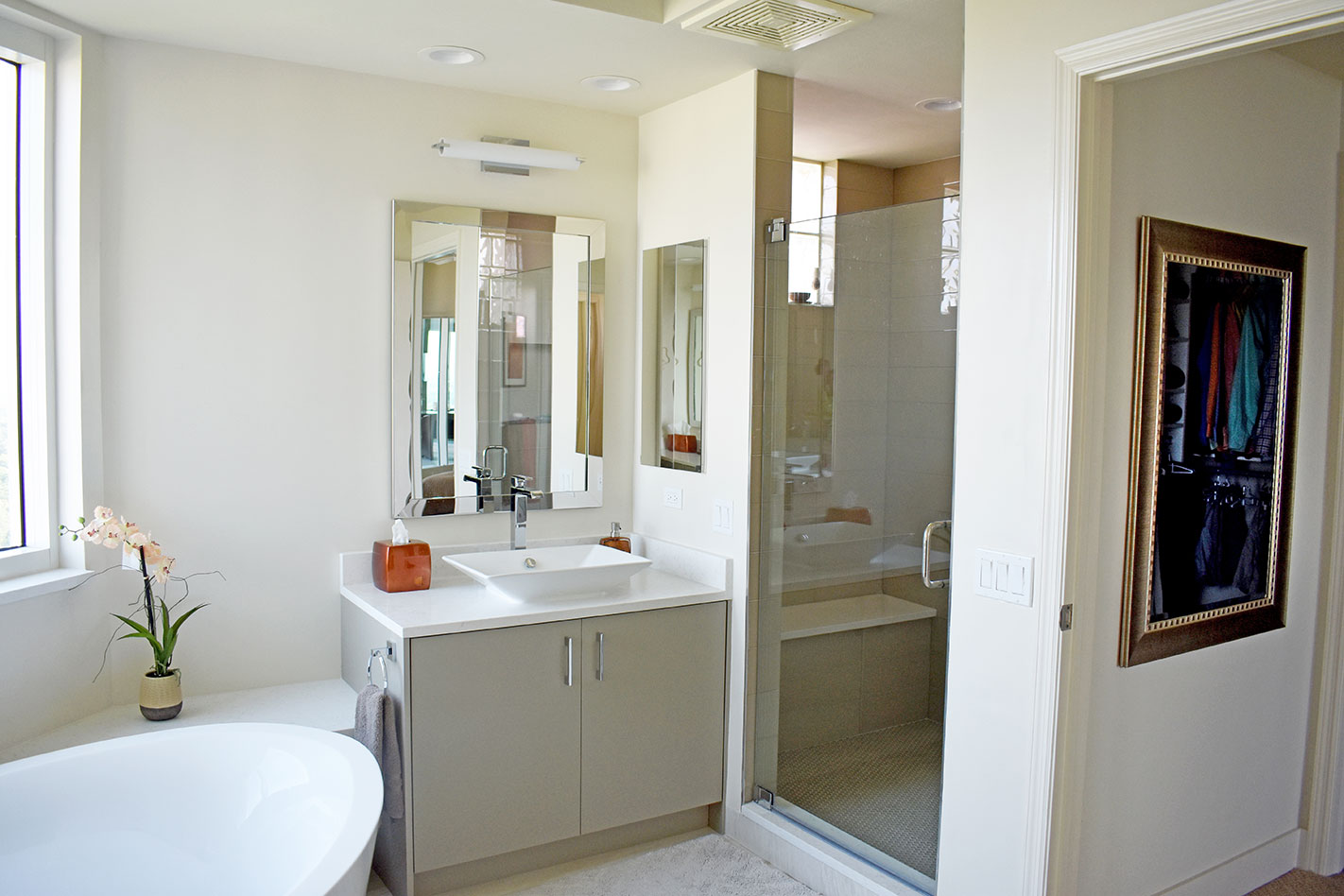 Luxurious master bathroom with natural light