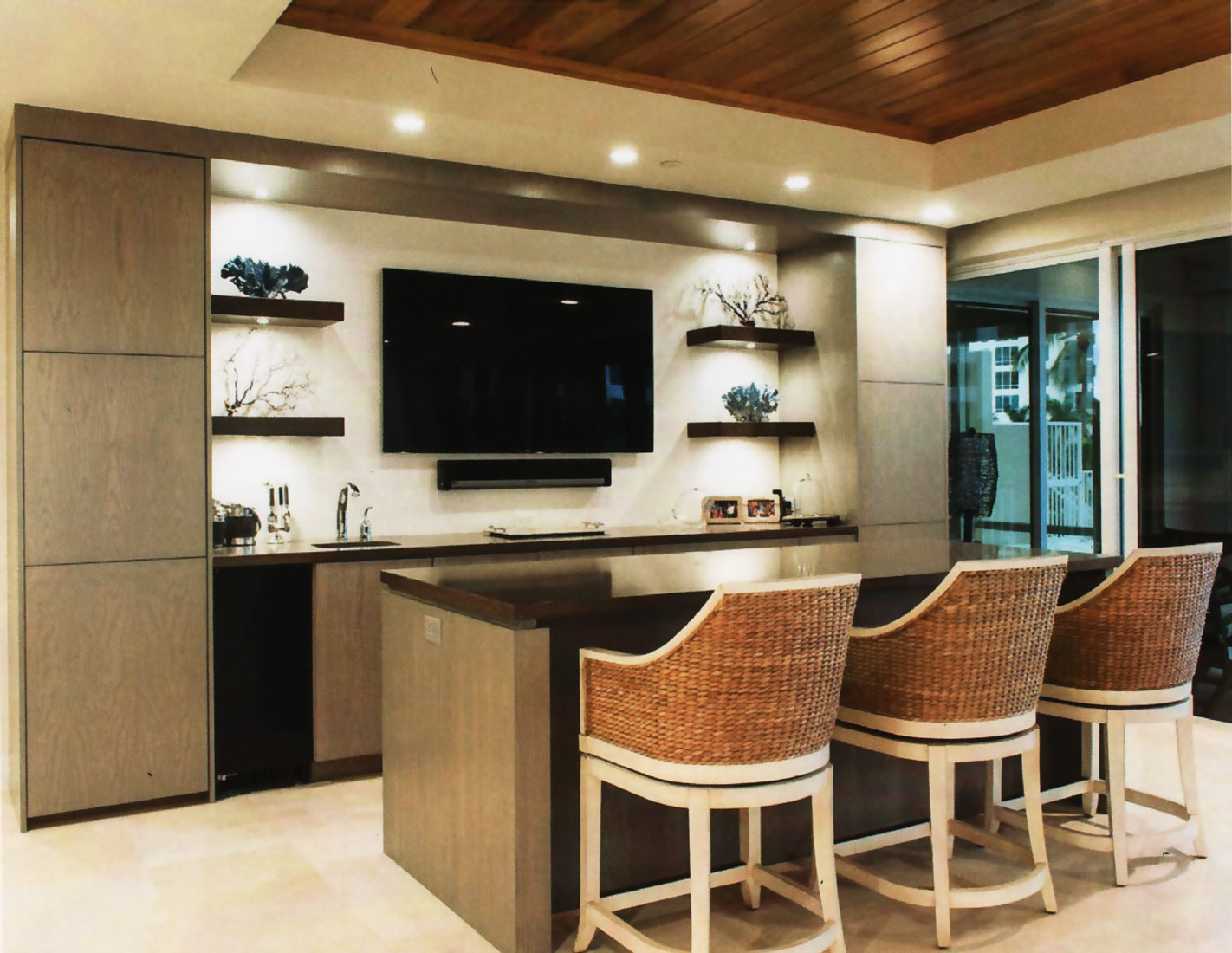 Entertain guests while relaxing and watching the game at wet bar